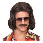 70-tals Dandy Brun Perukset med Mustasch