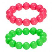 Pärlarmband Neonfärgade - 2-pack