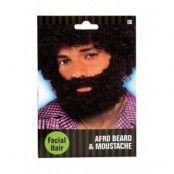 Afro skägg & mustasch - Svart