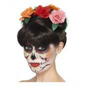 Day of the Dead Peruk med Blommor - One size