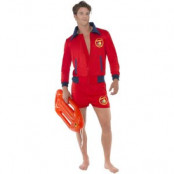 Baywatch Lifeguard maskeraddräkt - Röd - Large