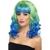 Divatastic lockig peruk - Grön och blå