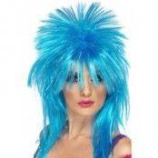 Glittrig rock diva peruk blå