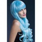 Peruk Emily lockig - blå