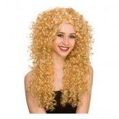 80-tals Lång Lockig Blond Peruk - One size