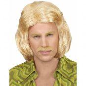 Blond 70-tals Peruk med Lösmustasch