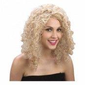 Blond Lockig Peruk - One size