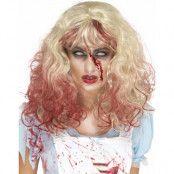 Blond och Blodig Zombie Alice Peruk