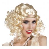 Flapper Blond med Pannband Peruk - One size