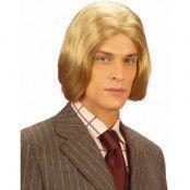 Halvlång blond peruk för män, med mittbena