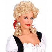Lockig blond peruk med två tofsar i röda band