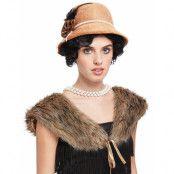 Brun Flapper Kostymset med Hatt och Pälskrage