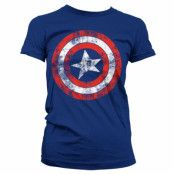 Captain America Distressed Shield Girly T-Shirt Blå, LARGE