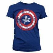 Captain America Distressed Shield Girly T-Shirt Blå, XL
