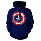 Captain America Distressed Shield Hoodie Navy