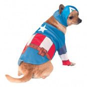 Captain America Hund Maskeraddräkt - Medium