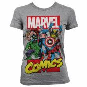 Marvel Comics Heroes Girly T-Shirt Grå