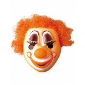 Clownmask med Orange Hår