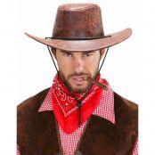 Brun Cowboyhatt i Skinnimitation
