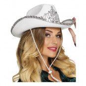 Cowboyhatt Vit med Tiara - One size