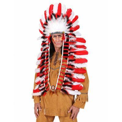 Indianhövdingen - huvudprydnad med stora fjädrar och band