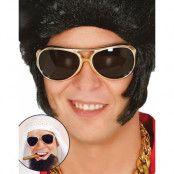 Guldfärgade Elvis/Shejk Kostymglasögon med Svarta Glas