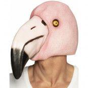 Flamingo Latexmask med Lång Näbb