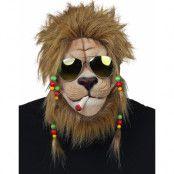 Rastafari Lejon – Heltäckande Latexmask med Hår och Glasögon