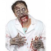 Zombieset med Halvmask och Handskar i Latex