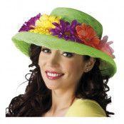 Grön hatt med Blommor - One size