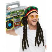 Rastafari Dräktset med Hatt, Dreads, Glasögon och Radio