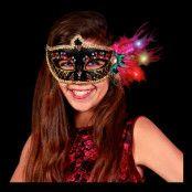 LED Venetiansk Mask Svart - One size