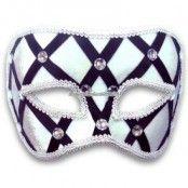 Svart & vit maskeradmask med smycken