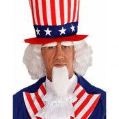 Uncle Sam - Vit Peruk med Ögonbryn och Skägg