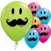 Ballonger med Smile Face mustasch - 28 cm latex - 50 st