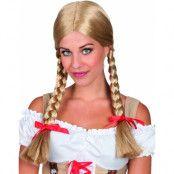 Blond Oktoberfestperuk med råttsvansar och röda band
