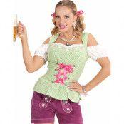 Grön Rutig Oktoberfest Kostym Överdel till Dam