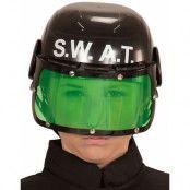 Svart SWAT Hjälm med Grönt Visir till Barn