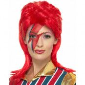 Röd David Bowie Inspirerad Peruk