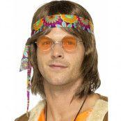 Runda Lennon/Hippieglasögon med Orange Glas
