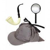 Detektiv Kostymset med Hatt, Pipa och Förstoringsglas