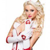 Långa Vita Sjuksköterskehandskar med Glitterhjärta