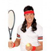 80-tals Pannband  röd med svart hår