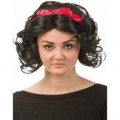 Snövit - svart peruk med rött band