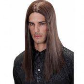 Lång brun peruk i bra kvalitet.