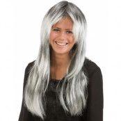 Lång svart och grå peruk med mittbena