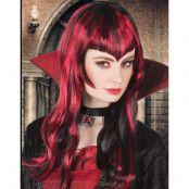 Svart och röd lång gotisk peruk